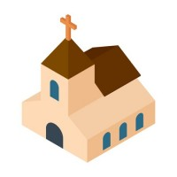 49695523 - wedding chapel isometric 3d icon.  illustration of a cute church or chapel on a white